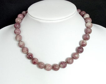 Gemstone Necklace Purple Lilac 12mm Round Beads NSLP3053