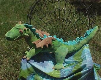 53 Inch Waldorf Dragon Made of Hand Dyed Cotton Velour  Semi custom