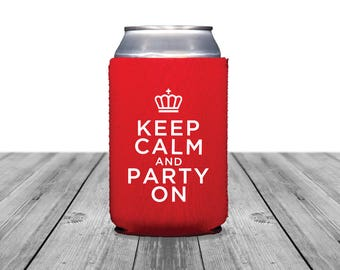 Neoprene Can Coolers, Personalized Coolies, Royal Wedding, Custom Hugger, Wedding Can Coolers, Keep Calm and Party On, Bachelorette, 1352