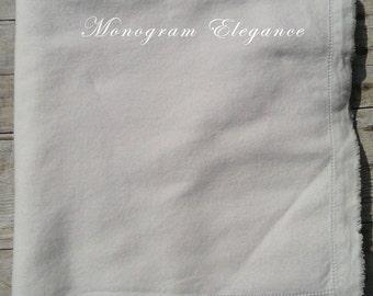 Hemstitched White Flannel Baby Blanket Blank