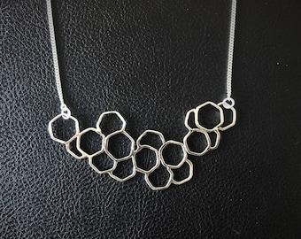 Geometric hexagons, Handmade silver necklace