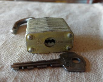 Vintage Milwaukee Master Lock Co. and Key, Key/Lock Works. Used, as found condition, uncleaned