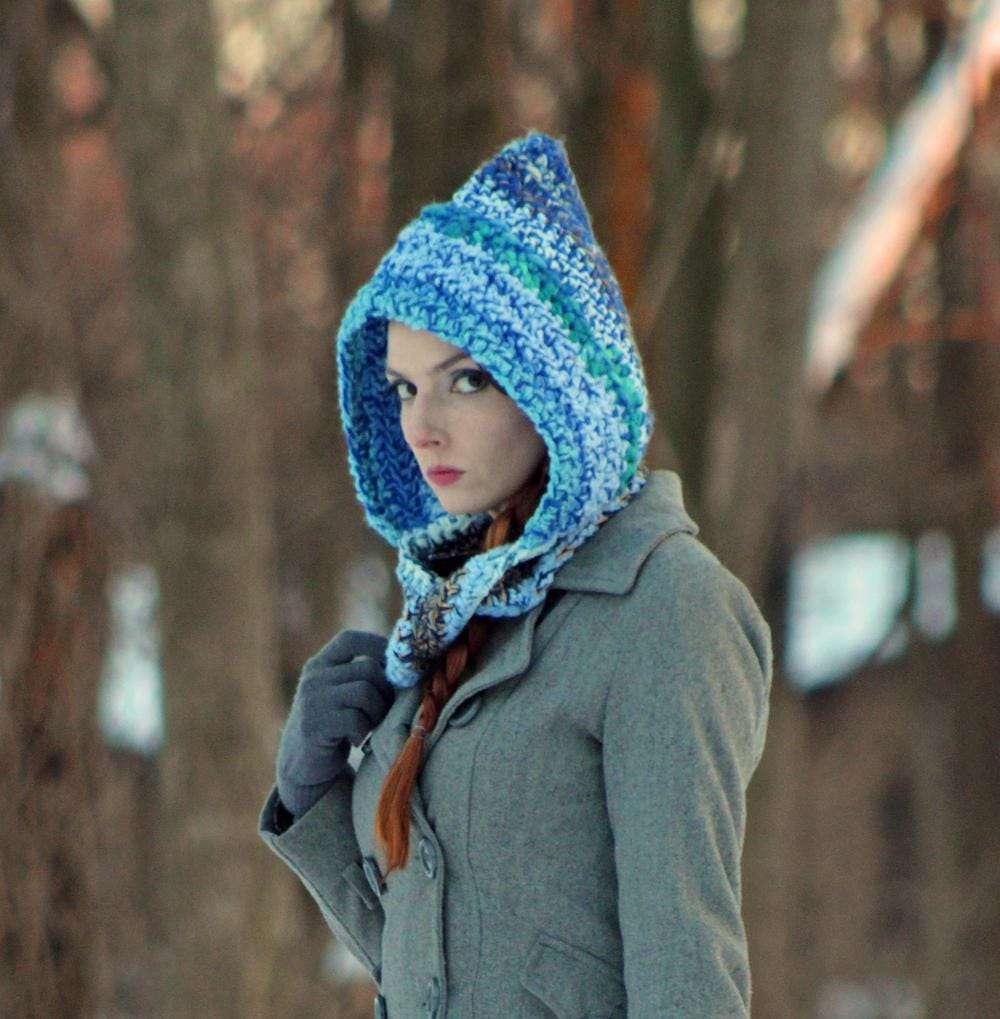 Blue Hooded Scarf Infinity Scarf Mobius Skood Knit Cowl Great Gift ...