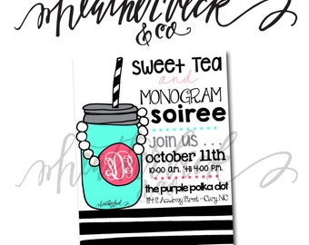 monogram soiree invitation