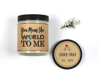 Personalized Gift Candle 8oz Scented Soy You Mean The World To Me Candle