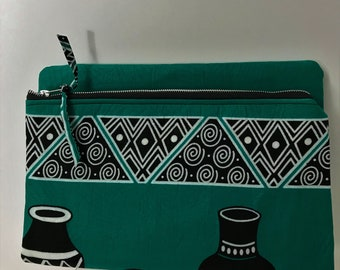 Evening Clutch/African Fabric/Green ClutchBag/Tribal Fabric/Afrocentric