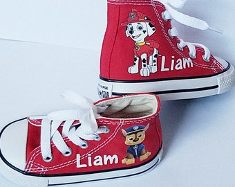 Paw Patrol, Red Converse, Custom Name, Personalized Gift, Marshall Chase, Boys Shoes, Infant Toddler, Big Kids