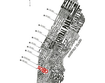 "Customizable - Manhattan Neighborhood Map 11 x 14"" Print"