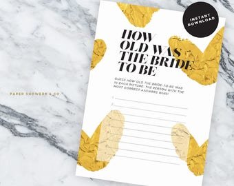 How Old Was The Bride To Be, Gold&Hearts Collection, Printable Bridal Shower Games - INSTANT DOWNLOAD