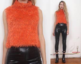 90s orange shaggy raver sleeveless high neck crop top sweater s m l