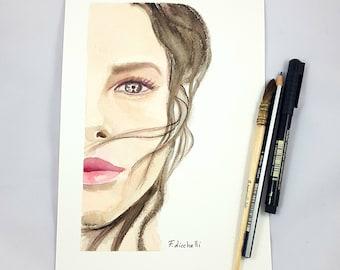 Woman portrait, watercolor, original painting, ooak, gift idea for birthday, wall art, living room decoration, bedroom art, elegant picture.