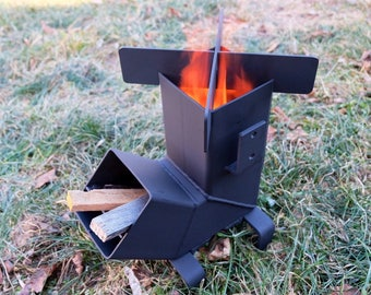 Rocket Stove with *Removable top and Self Feeding*  ChristiansburgWeld Rocket Stove / Camping Stove / Wood Stove / Emergency Stove /Survival