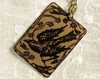 Raven Necklace - Etched Fused Glass on Bronze Jewelry