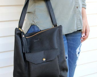 Leather Backpack Convertible - Backpack Purse - Black Leather Backpack Converts to Shoulder Bag - Black Leather Shoulder Bag with Pockets