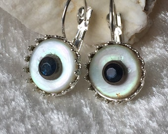 Vintage Mother of Pearl Button Lever -back Earrings with Royal Blue glass sequins, 12mm