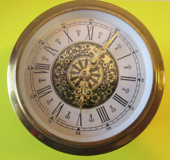 "3 5/8"" Vintage West German Made Fancy Brass Plated Steel Partial Clock for your Clock Projects, Steampunk Art and Etc.."