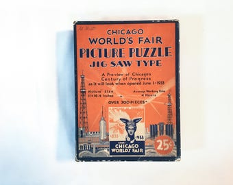 Vintage 1930s Chicago World's Fair Jigsaw Puzzle — Over 300 Pieces