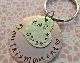 From this Moment - Personalized Couples Keychain -Wedding Anniversary Engagement Gift - Marriage Gift - Couples Keychain K38