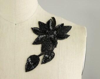 NEW ITEM! Black Beaded Sequin Floral Iron On Applique / Bridal Applique / Wedding / Floral Patch / Evening Dress / Headpiece