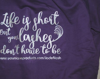 Younique inspired 'Ask me about my lashes' Hoodie purple
