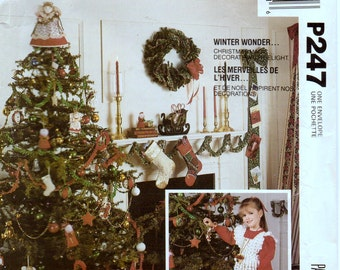 Vintage Sewing Pattern McCall's P247 Christmas Ornaments Tree Skirt Girl's Skirt Pinafore Complete