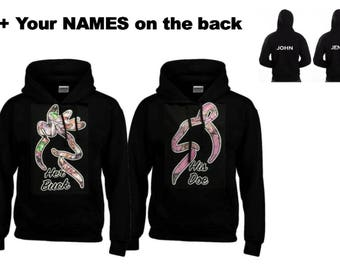 Her Buck - His Doe Hoodies+Your name or other text