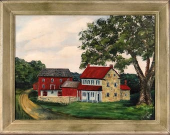 Superb ca.1982 Farmhouses in the Woods Oil Painting w/Frame Signed & Dated