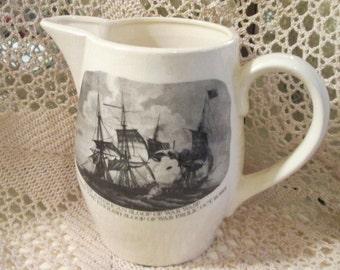 Vintage Ceramic Pitcher Depicting Naval War Battle From 1812