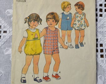 Vintage Simplicity 7456 Sewing Pattern Toddlers Short Jumpsuit Romper Size 1 Crafts  DIY Sewing Crafts PanchosPorch