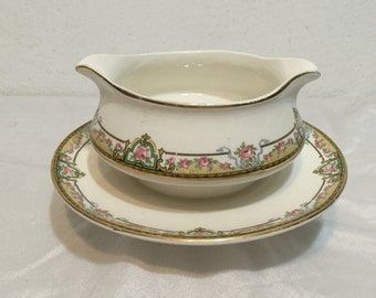 Homer Laughlin Empress Line 1921 Gravy Boat with attached Underplate