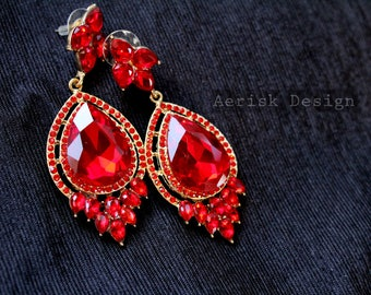 Fire Red Ruby Chandelier Chain Earrings Bold Daring crystal gems (Bridal Jewelry) Vintage Romantic Earrings for Persian or Chinese wedding