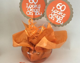 60th Birthday Centerpiece  2 Signs with Orange Party Display Tray