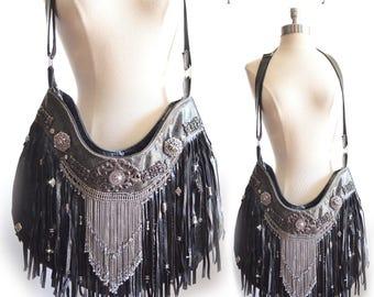 Leather | Fringe | Gypsy | Boho | Cross Body | Bag | Purse | Black Leather