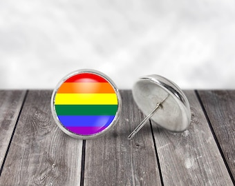 Gay Pride Earrings, 12mm Stud Earrings, Pride Earrings, LGBT Pride, Gay Pride, LGBT Jewelry, Gay Pride Flag