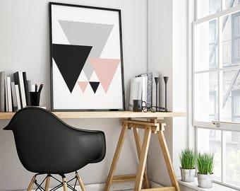 Wall Art Prints, Instant Download Printable Art, Black and White Prints, Geometric Modern Art, Pink Black and White, Wall Prints, Wall Decor