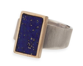 Sterling Silver/14KT Gold & Lapis Lazuli Ring