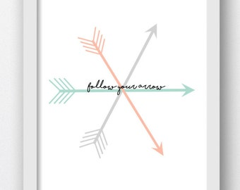 Follow Your Arrow Print, Mint Coral Arrows, Arrow Digital Print, Digital Prints, Boho Arrow Print, Digital Boho Print,Crossed Arrows, Dreams