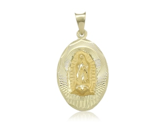 10K Solid Yellow Gold Virgin Mary Oval Medal Pendant - Lady of Guadalupe Necklace Charm