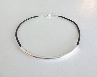 Tube Bracelet, Silver Tube Anklet, Bar, Cylinder Bracelet, Bride Gift, Bridesmaid Gift, Genuine Leather Cord  (14 Leather Colors Available)