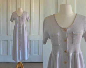 Thermal Waffle Knit Maxi Dress Button Down Midi Dress Beige/White - small