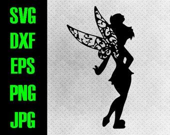 Tinkerbell svg, dxf, eps, png, jpg cutting files - cricut, silhouette - iron on paper piecing - Disneyland Disneyworld Peter Pan Tink World