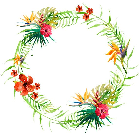 tropical wreath tropical clipart tropical flowers tropical leaves rh etsystudio com tropical clip art images tropical clipart free