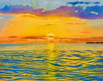 Sunset Landscape Colored Pencil Drawing