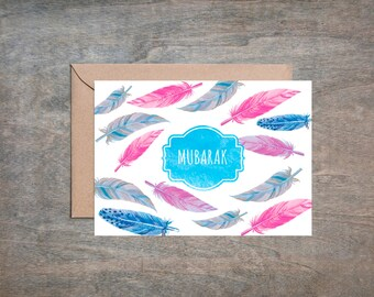 Mubarak Card, Notecard, General Card, Mabrook, Congratulations, Feathers, Blue Pink 7 x 5 card, Instant Digital Download, All occasions card