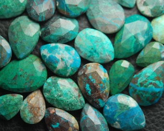 Just New Arrival,10 Pcs,Super Finest,CHRYSOCOLLA Faceted Pear Shape Briolette,15-20mm
