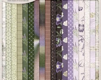 Travel Paper Pack, Floral Digital Papers, Wanderlust Patterns, Outdoor Adventure, Digital Download, Digital Scrapbooking, Lavender, Clouds
