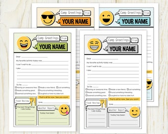 Summer Camp Stationery - Emoji - Digital/ you personalize - fill in note for camp