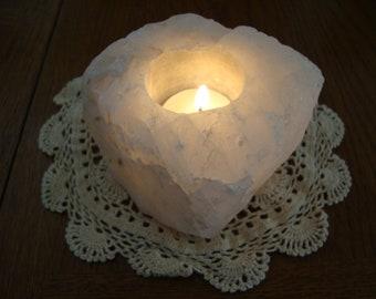 Clear Quartz Crystal Candle Holder - Quartz tea light candle holder - air plant holder - smudge bowl - smudge dish - Gypsy, Boho Decor