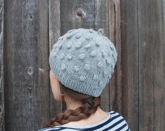 Women's Knit Hat / Hand Knit Wool Hat / Light Grey Hat