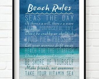 Beach Rules ART PRINT, UNFRAMED, ocean sea coastal nautical wall & home decor sign